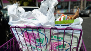 LOS ANGELES, CA - JUNE 18:  Shoppers use plastic grocery bags after shopping at the 99 Cents Only Store on June 18, 2013 in Los Angeles, California.  The Los Angeles City Council is expected to vote on a proposed law would prohibit stores that sell pershiable goods for handing out the plastic grocery bags and fines would will be imposed for violators. It also calls for a 10-cent charge on paper bag use and regulations on the types of reusable bags that stores make it available to their customers.  (Photo by Kevork Djansezian/Getty Images)
